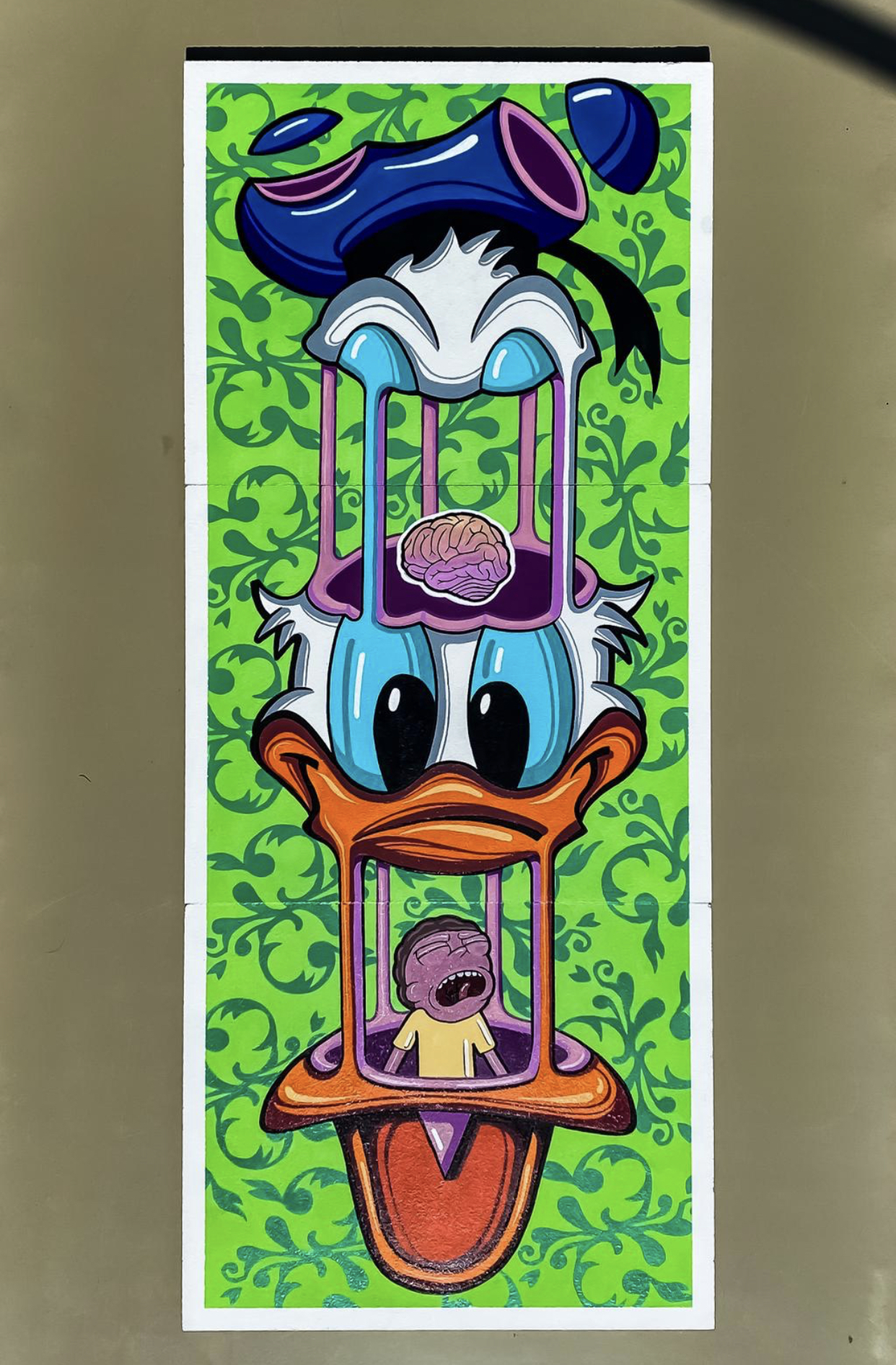 DONALD DUCK DISSECTED WITH MORTY acrilic on 3 wood pannel 46X111 CM
