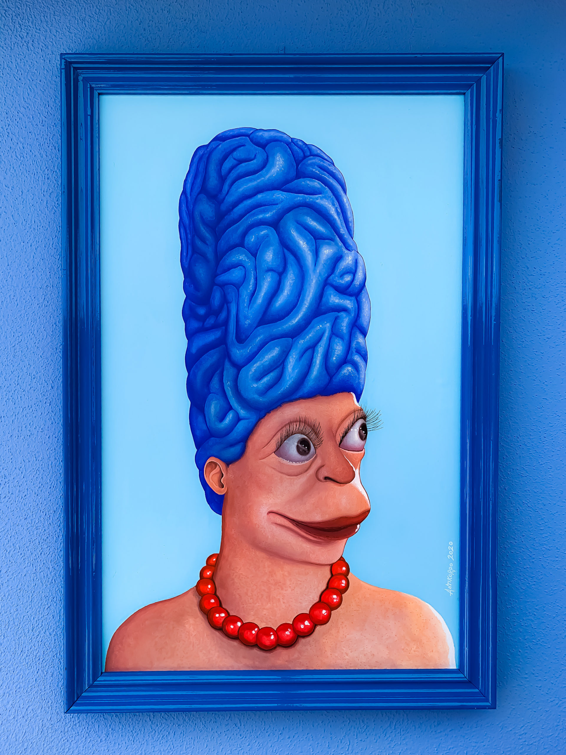 marge with intelligent hairs acrilic con wood pannel 43×67 cm